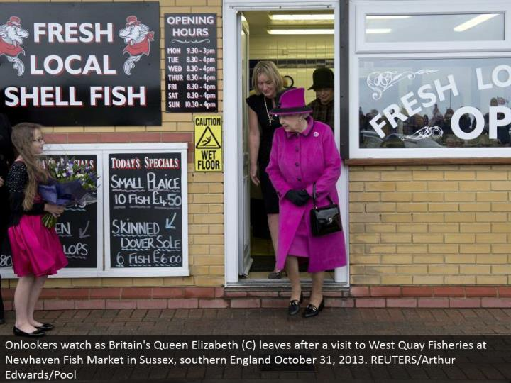 Onlookers look as Britain's Queen Elizabeth (C) leaves after a visit to West Quay Fisheries at Newhaven Fish Market in Sussex, southern England October 31, 2013. REUTERS/Arthur Edwards/Pool