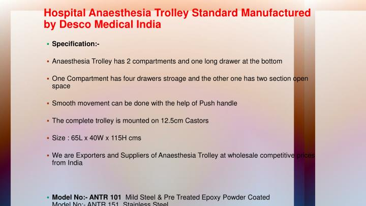 Hospital Anaesthesia Trolley Standard Manufactured by Desco Medical India