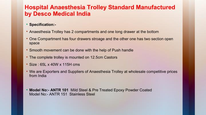 Hospital Anaesthesia Trolley Standard Manufactured