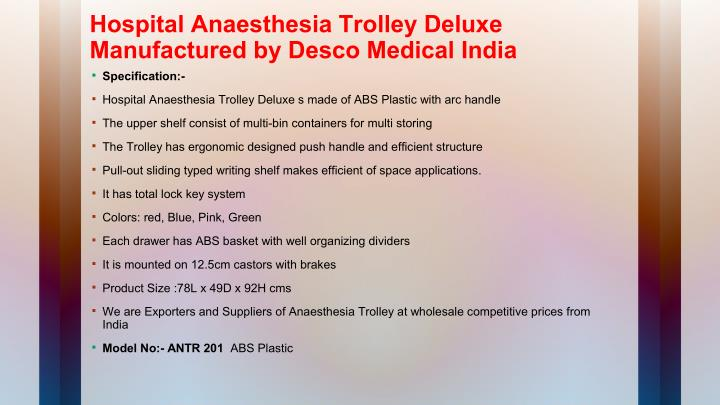 Hospital Anaesthesia Trolley Deluxe