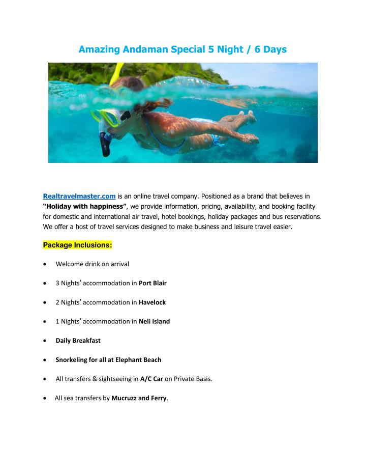 Amazing Andaman Special 5 Night / 6 Days