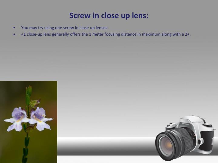 Screw in close up lens: