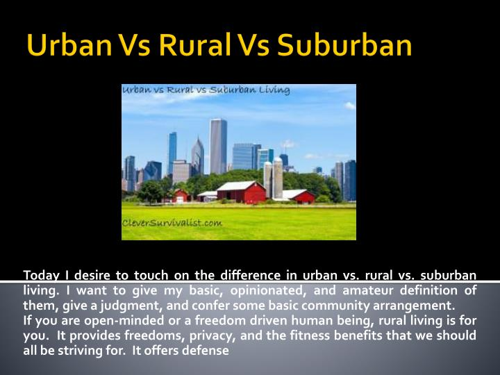 Urban vs rural vs suburban