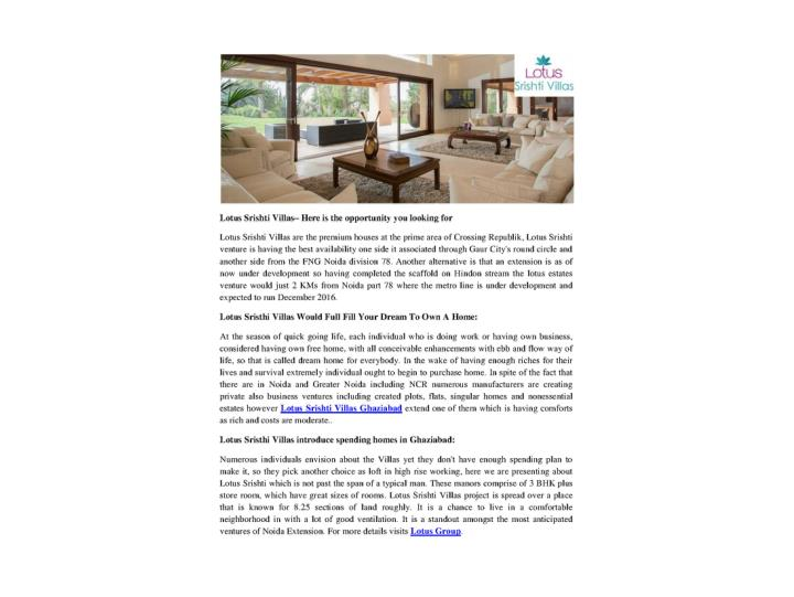 Lotus srishti villas here is the opportunity you looking for