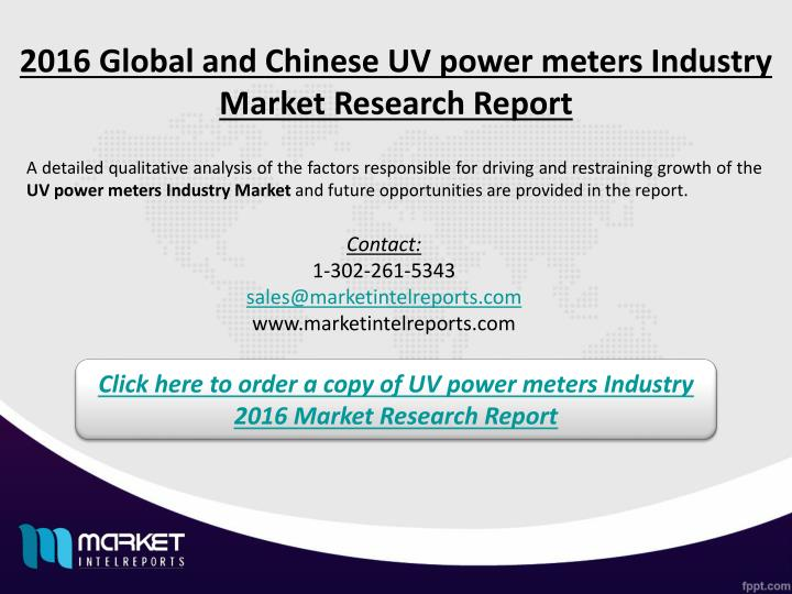 2016 Global and Chinese UV power meters Industry Market Research Report