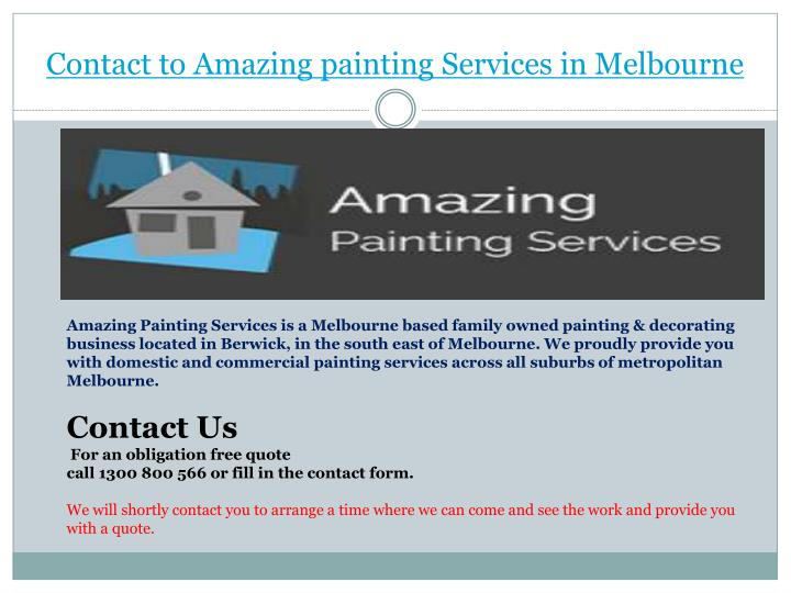 Contact to Amazing painting Services in Melbourne