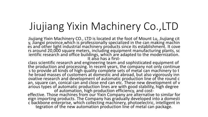 Jiujiang yixin machinery co ltd