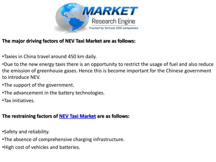 The major driving factors of NEV Taxi Market are as follows: