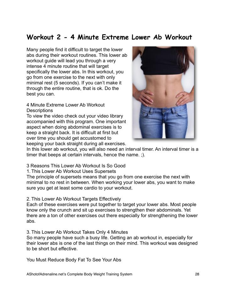 Workout 2 - 4 Minute Extreme Lower Ab Workout