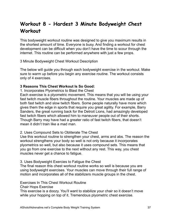 Workout 8 - Hardest 3 Minute Bodyweight Chest