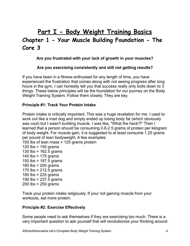 Part I - Body Weight Training Basics