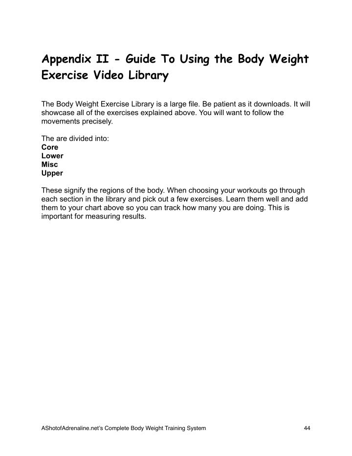 Appendix II - Guide To Using the Body Weight