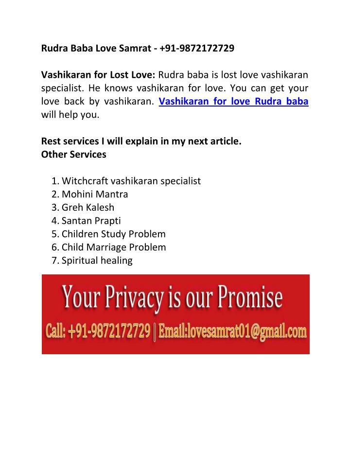 Rudra Baba Love Samrat - +91-9872172729