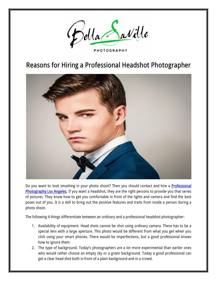 Reasons for Hiring aProfessional Headshot Photographer