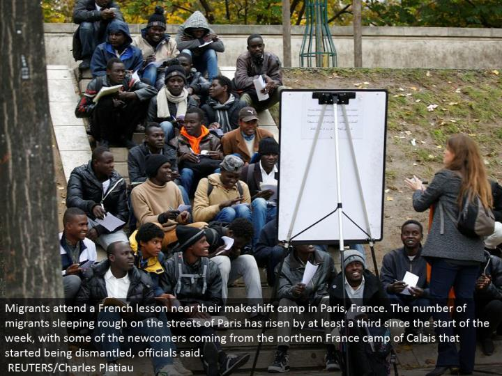Migrants go to a French lesson close to their improvised camp in Paris, France. The quantity of transients resting unpleasant in the city of Paris has ascended by no less than a third since the begin of the week, with a portion of the newcomers originating from the northern France camp of Calais that began being destroyed, authorities said.  REUTERS/Charles Platiau
