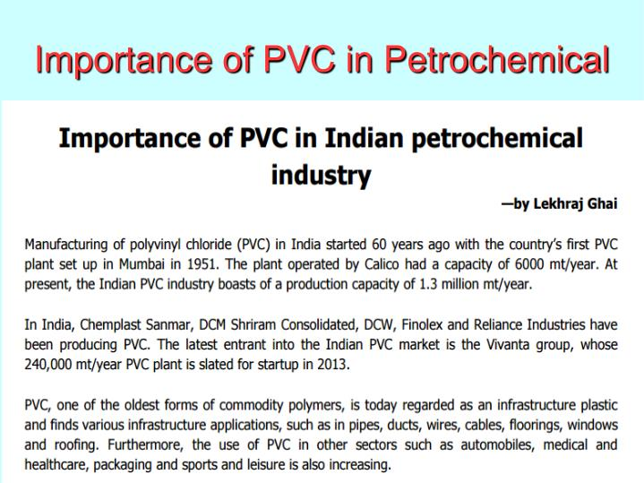 Importance of PVC in Petrochemical