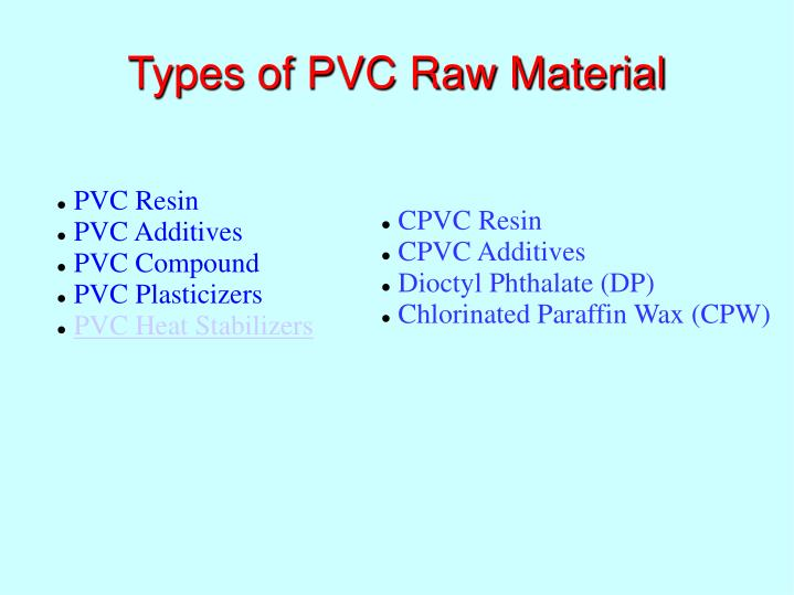Types of PVC Raw Material