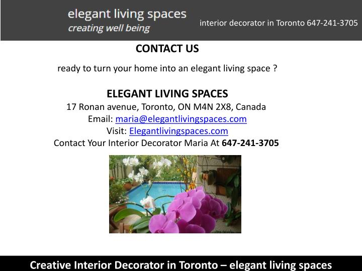 interior decorator in Toronto 647-241-3705
