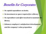 benefits for corporates