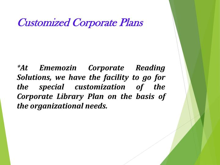 Customized Corporate Plans