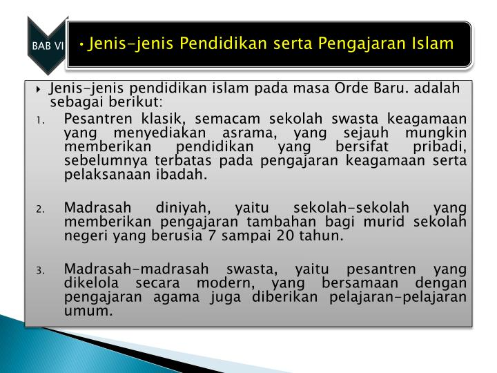 Jenis-jenis pendidikan islam pada masa Orde Baru. adalah sebagai berikut: