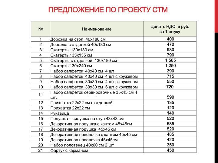 Предложение по проекту СТМ