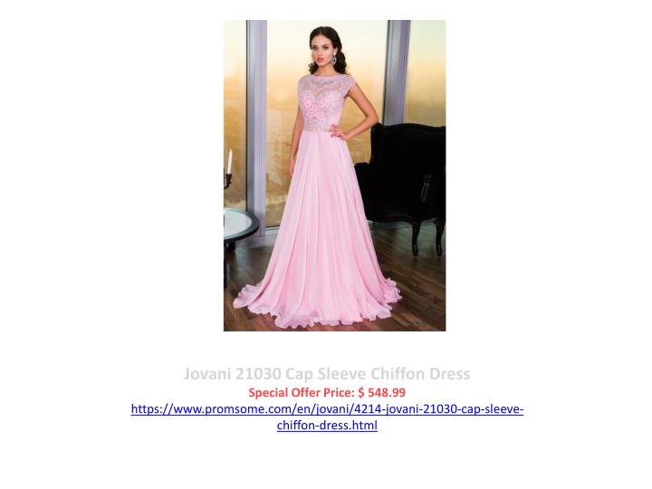 Jovani 21030 Cap Sleeve Chiffon Dress