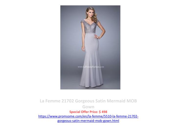 La Femme 21702 Gorgeous Satin Mermaid MOB Gown