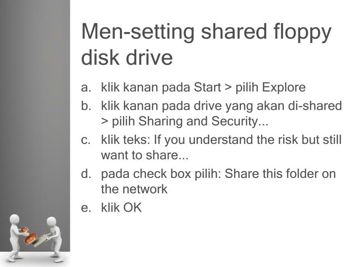 Men-setting shared floppy disk drive