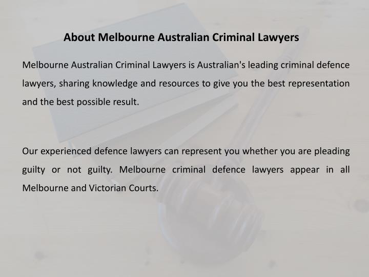About Melbourne Australian Criminal Lawyers