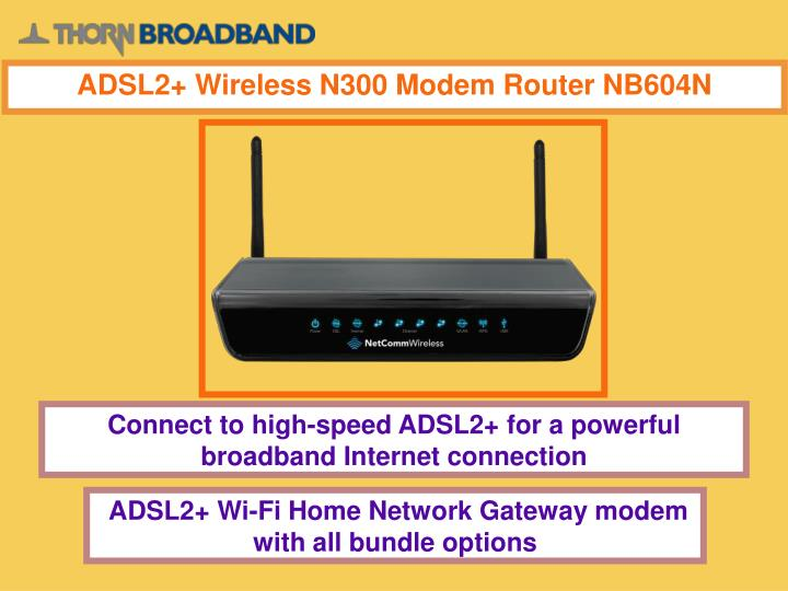 ADSL2+ Wireless N300 Modem Router NB604N