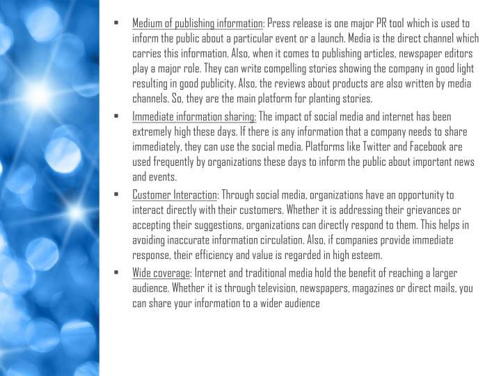 Medium of publishing information