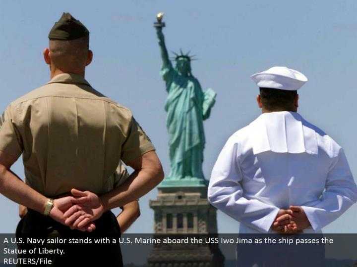 A U.S. Naval force mariner stands with a U.S. Marine on board the USS Iwo Jima as the ship passes the Statue of Liberty.  REUTERS/File