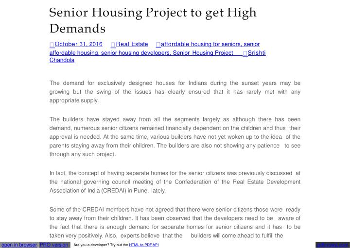 Senior housing project to get high demands