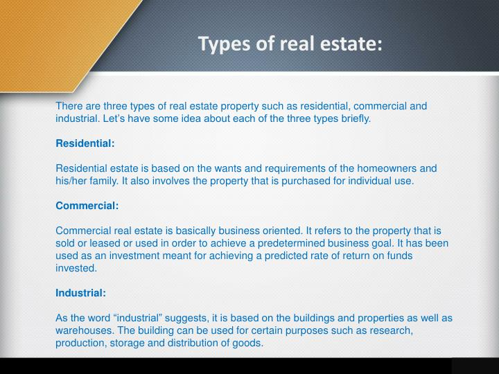 Types of real estate: