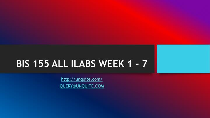 Bis 155 all ilabs week 1 7