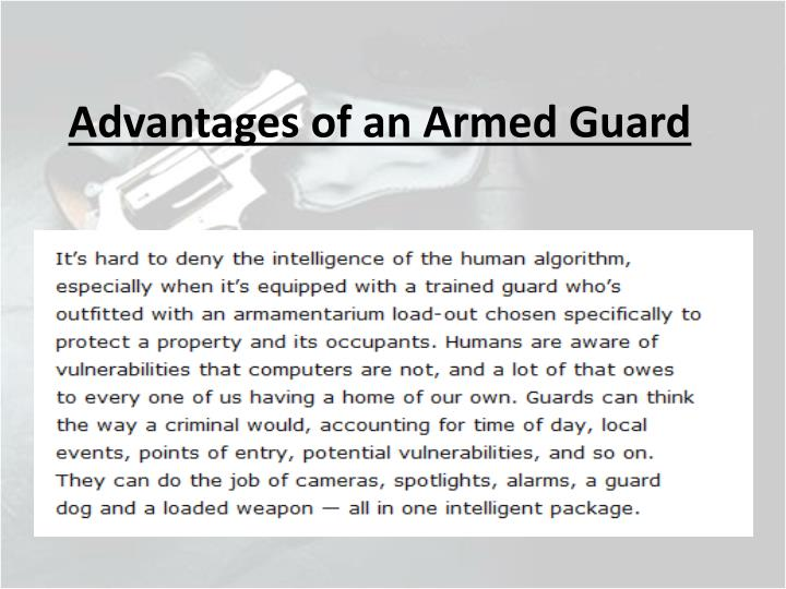 Advantages of an Armed Guard