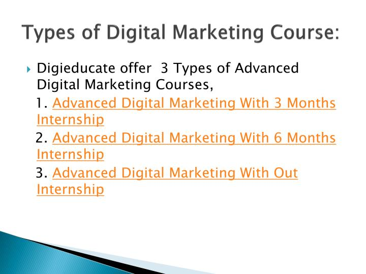 Types of Digital Marketing Course: