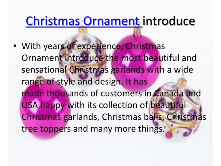 Christmas ornament introduce