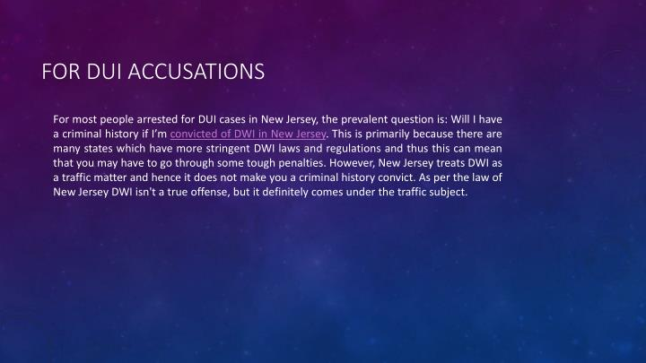 for DUI Accusations