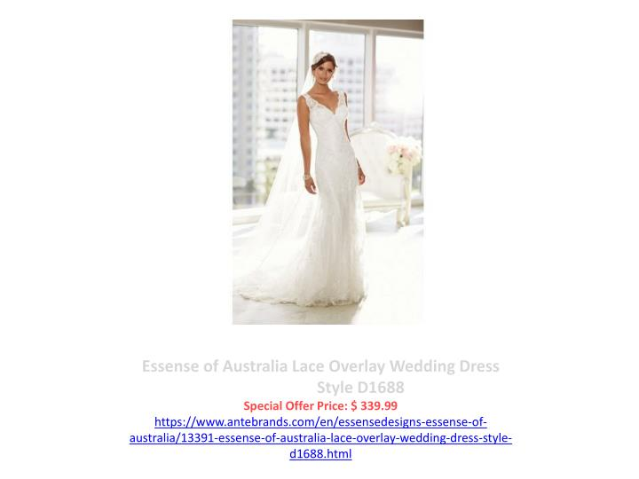 Essense of Australia Lace Overlay Wedding Dress                    Style D1688