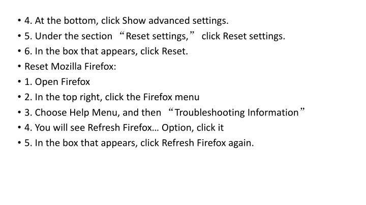 4. At the bottom, click Show advanced settings.