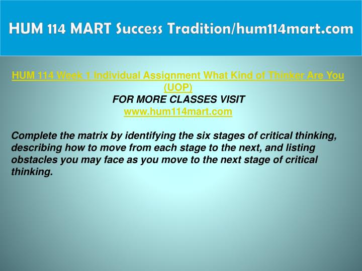 HUM 114 MART Success Tradition/hum114mart.com