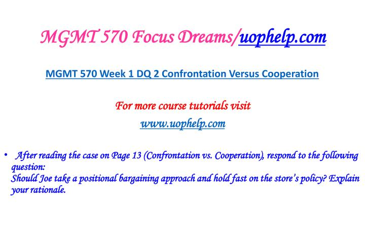 MGMT 570 Focus Dreams/