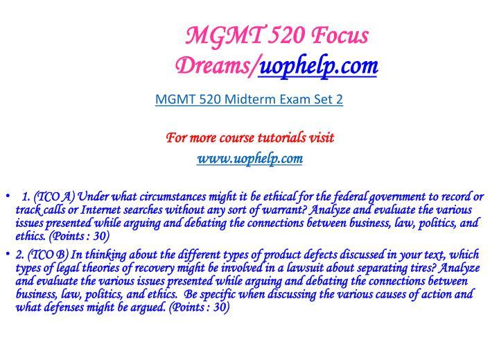 MGMT 520 Focus Dreams/