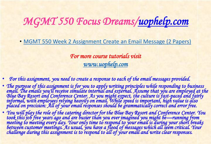 Mgmt 550 focus dreams uophelp com1