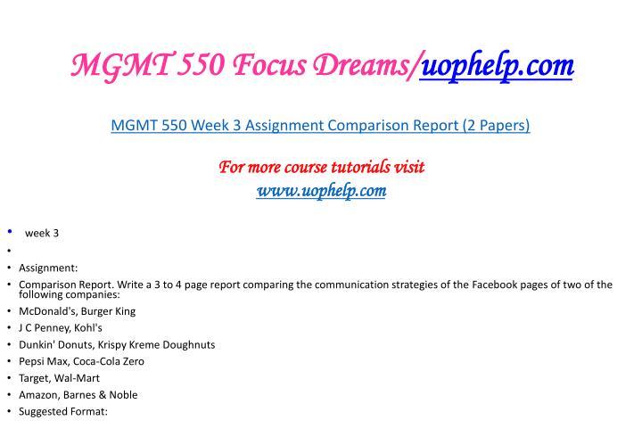 MGMT 550 Focus Dreams/