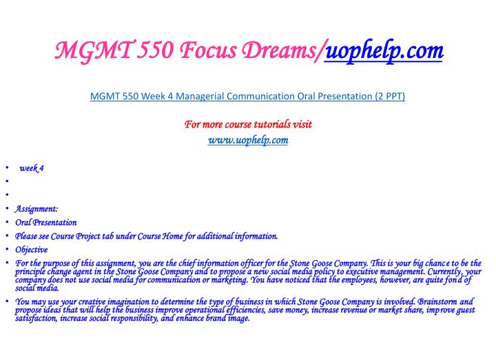 MGMT 550 Focus Dreams/