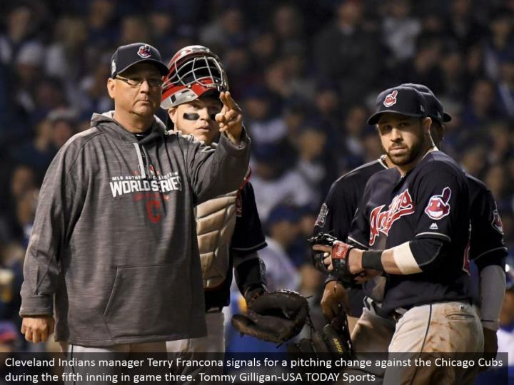 Cleveland Indians chief Terry Francona signals for a pitching change against the Chicago Cubs amid the fifth inning in amusement three. Tommy Gilligan-USA TODAY Sports