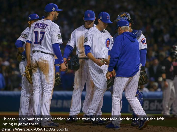 Chicago Cubs supervisor Joe Maddon assuages beginning pitcher Kyle Hendricks amid the fifth inning in diversion three.  Dennis Wierzbicki-USA TODAY Sports